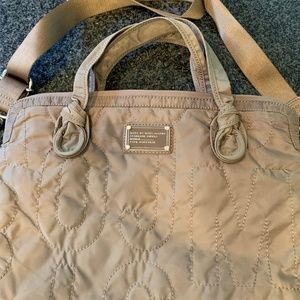 Marc Jacobs Taupe Quilted Logo Laptop Bag